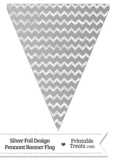 Silver Foil Chevron Pennant Banner Flag from PrintableTreats.com