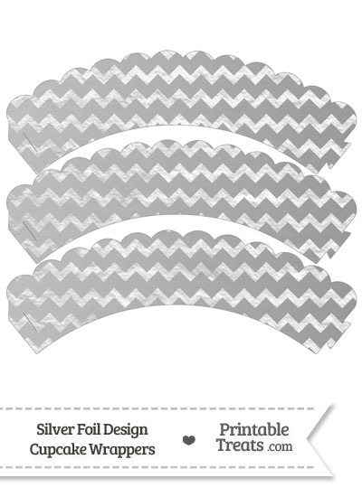 Silver Foil Chevron Scalloped Cupcake Wrappers from PrintableTreats.com