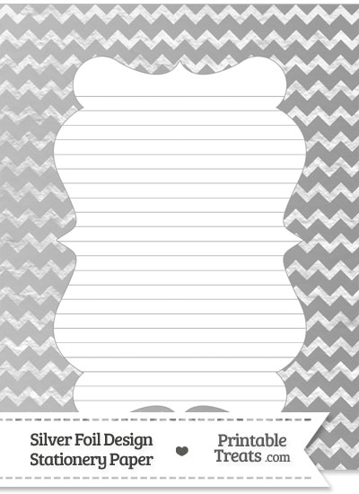 Silver Foil Chevron Stationery Paper from PrintableTreats.com