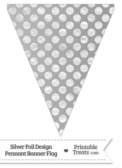 Silver Foil Dots Pennant Banner Flag from PrintableTreats.com