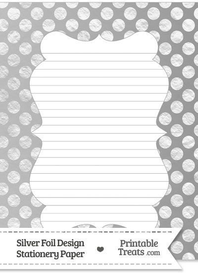 Silver Foil Dots Stationery Paper from PrintableTreats.com