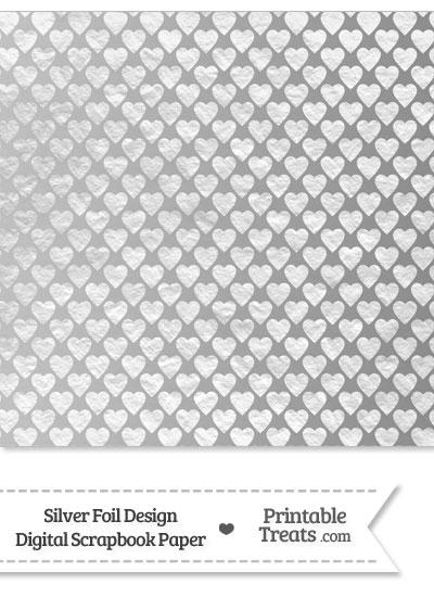Silver Foil Hearts Digital Scrapbook Paper from PrintableTreats.com