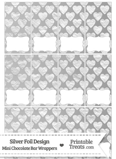 Silver Foil Hearts Mini Chocolate Bar Wrappers from PrintableTreats.com