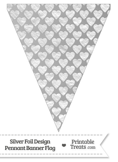 Silver Foil Hearts Pennant Banner Flag from PrintableTreats.com