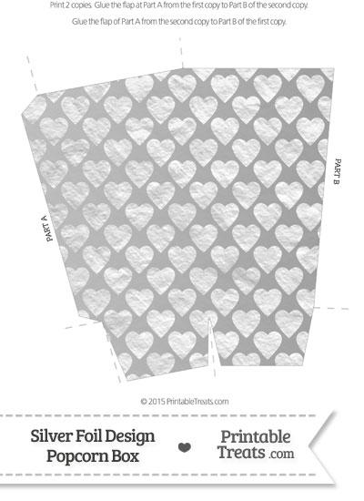 Silver Foil Hearts Popcorn Box from PrintableTreats.com