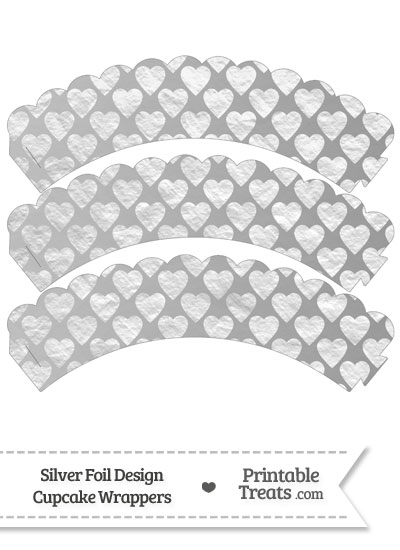 Silver Foil Hearts Scalloped Cupcake Wrappers from PrintableTreats.com