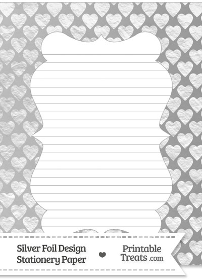Silver Foil Hearts Stationery Paper from PrintableTreats.com