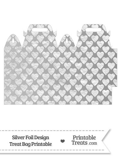 Silver Foil Hearts Treat Bag from PrintableTreats.com