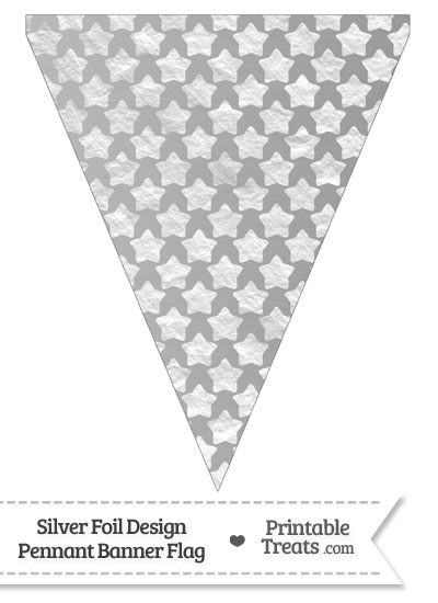 Silver Foil Stars Pennant Banner Flag from PrintableTreats.com