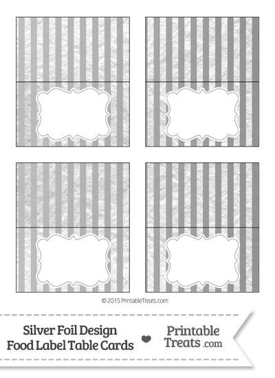 Silver Foil Stripes Food Labels from PrintableTreats.com