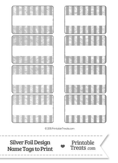Silver Foil Stripes Name Tags from PrintableTreats.com