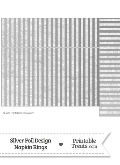 Silver Foil Stripes Napkin Rings from PrintableTreats.com