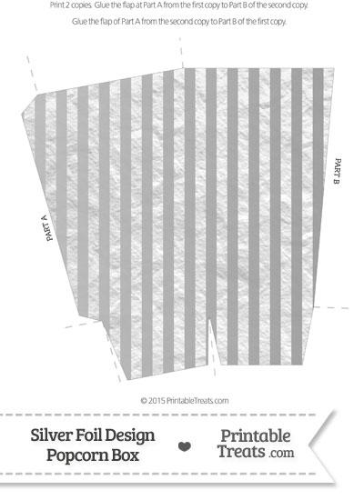 Silver Foil Stripes Popcorn Box from PrintableTreats.com