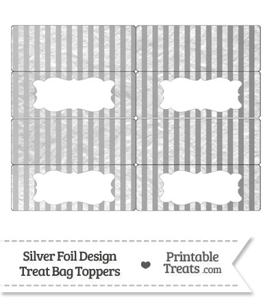 Silver Foil Stripes Treat Bag Toppers from PrintableTreats.com