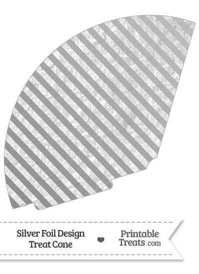 Silver Foil Stripes Treat Cone from PrintableTreats.com