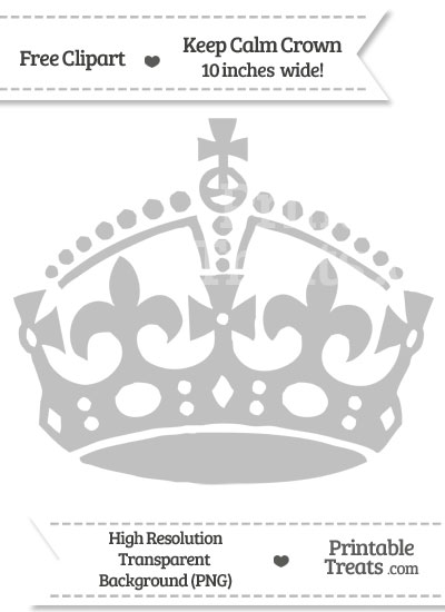 Silver Keep Calm Crown Clipart from PrintableTreats.com