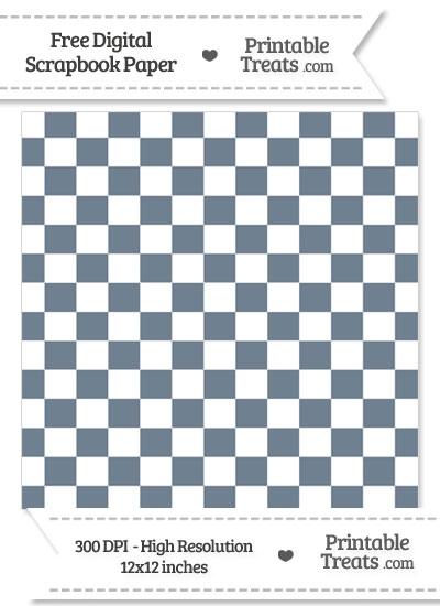Slate Grey Checkered Pattern Digital Paper from PrintableTreats.com