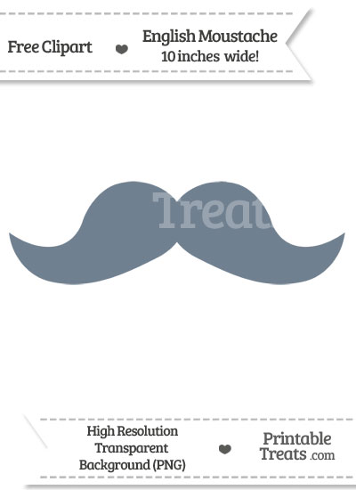Slate Grey English Mustache Clipart from PrintableTreats.com