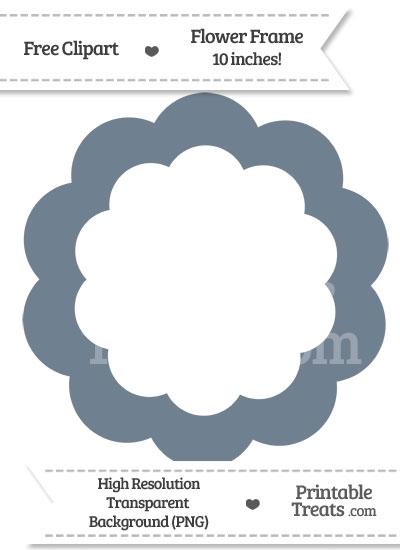 Slate Grey Flower Frame Clipart from PrintableTreats.com