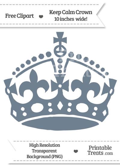Slate Grey Keep Calm Crown Clipart from PrintableTreats.com