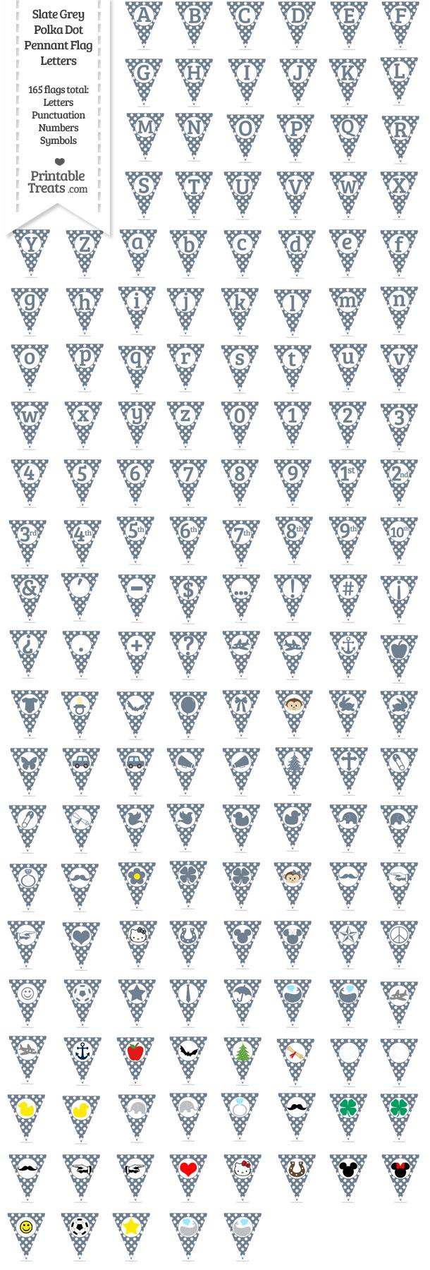 Slate Grey Polka Dot Pennant Flag Letters Download from PrintableTreats.com