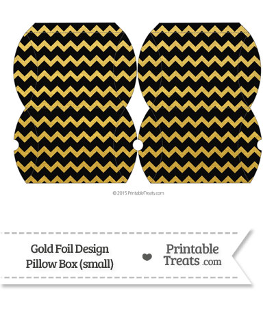Small Black and Gold Foil Chevron Pillow Box from PrintableTreats.com