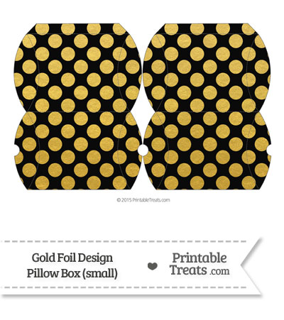 Small Black and Gold Foil Dots Pillow Box from PrintableTreats.com