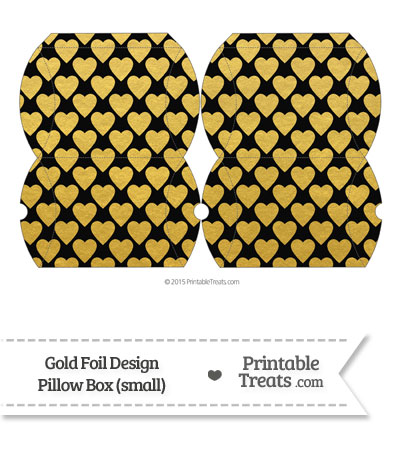 Small Black and Gold Foil Hearts Pillow Box from PrintableTreats.com