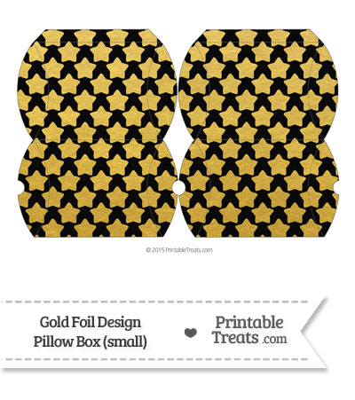 Small Black and Gold Foil Stars Pillow Box from PrintableTreats.com