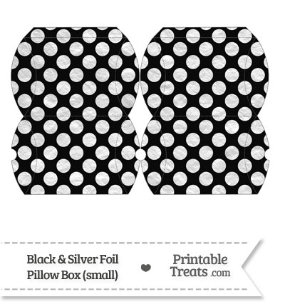 Small Black and Silver Foil Dots Pillow Box from PrintableTreats.com