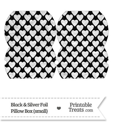 Small Black and Silver Foil Hearts Pillow Box from PrintableTreats.com