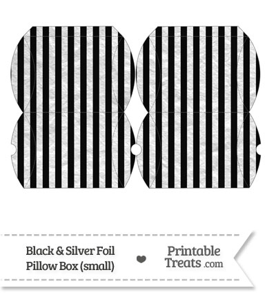 Small Black and Silver Foil Stripes Pillow Box from PrintableTreats.com