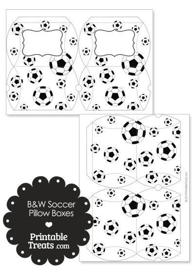 Small Black and White Soccer Pillow Boxes from PrintableTreats.com