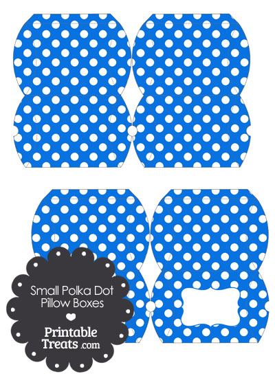 Small Blue and White Polka Dot Pillow Box from PrintableTreats.com