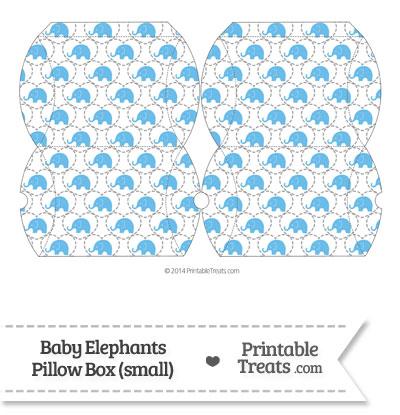 Small Blue Baby Elephants Pillow Box from PrintableTreats.com