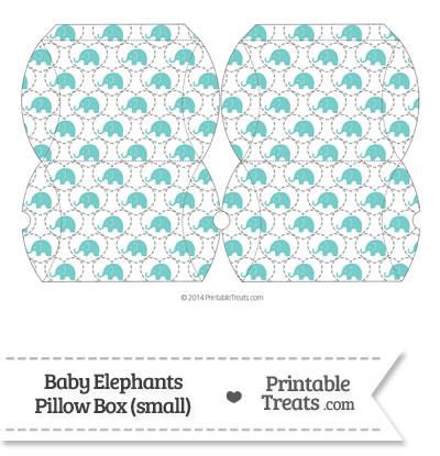 Small Blue Green Baby Elephants Pillow Box from PrintableTreats.com