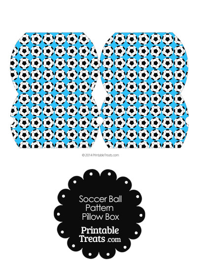 Small Blue Soccer Ball Pattern Pillow Box from PrintableTreats.com