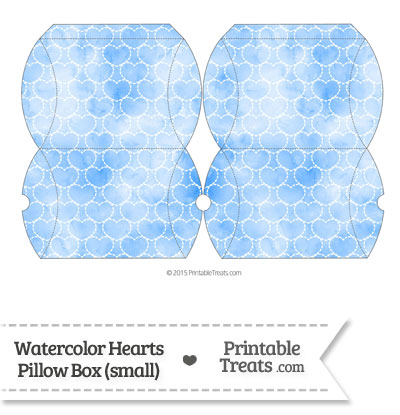 Small Blue Watercolor Hearts Pillow Box from PrintableTreats.com