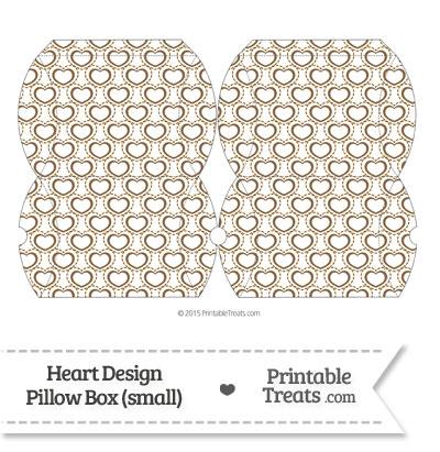 Small Brown Heart Design Pillow Box from PrintableTreats.com