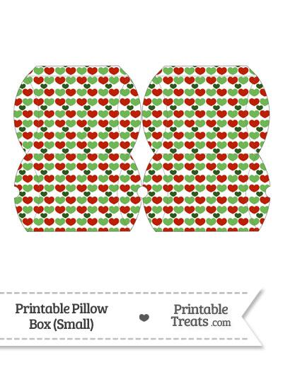 Small Christmas Hearts Pillow Box from PrintableTreats.com