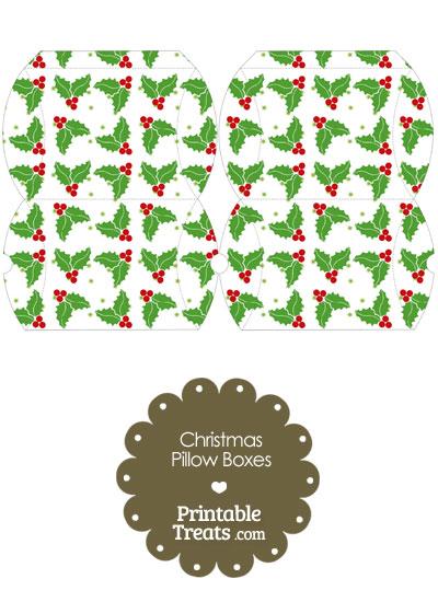 Small Christmas Holly Pillow Box from PrintableTreats.com