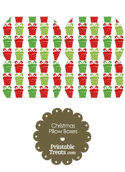 Small Christmas Presents Pillow Box from PrintableTreats.com