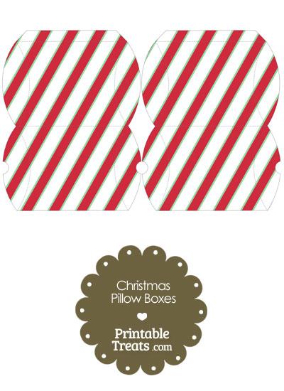 Small Christmas Stripes Pillow Box from PrintableTreats.com