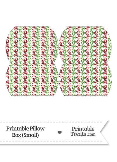 Small Christmas Swirls Pillow Box from PrintableTreats.com