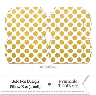 Small Gold Foil Dots Pillow Box from PrintableTreats.com