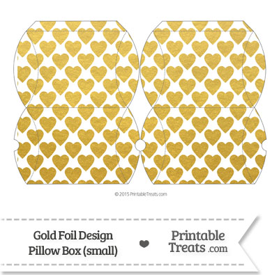 Small Gold Foil Hearts Pillow Box from PrintableTreats.com