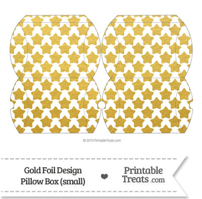 Small Gold Foil Stars Pillow Box from PrintableTreats.com