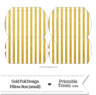 Small Gold Foil Stripes Pillow Box from PrintableTreats.com