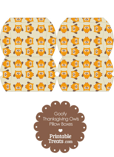 Small Goofy Thanksgiving Owls Pillow Box from PrintableTreats.com