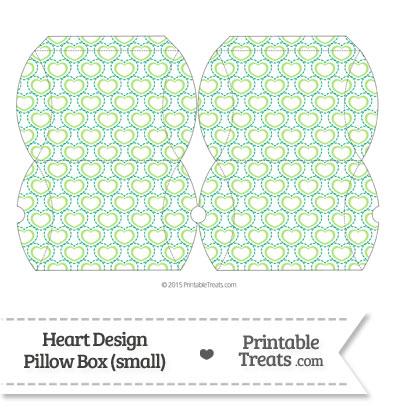 Small Green Heart Design Pillow Box from PrintableTreats.com